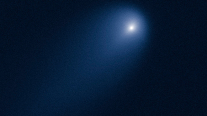 Image of Comet C/2012 S1 (ISON) photographed on April 10, when the comet was slightly closer than Jupiter's orbit at a distance of 386 million miles from the Sun (394 million miles from Earth). (NASA, ESA, J.-Y. Li) Image via Fox News.